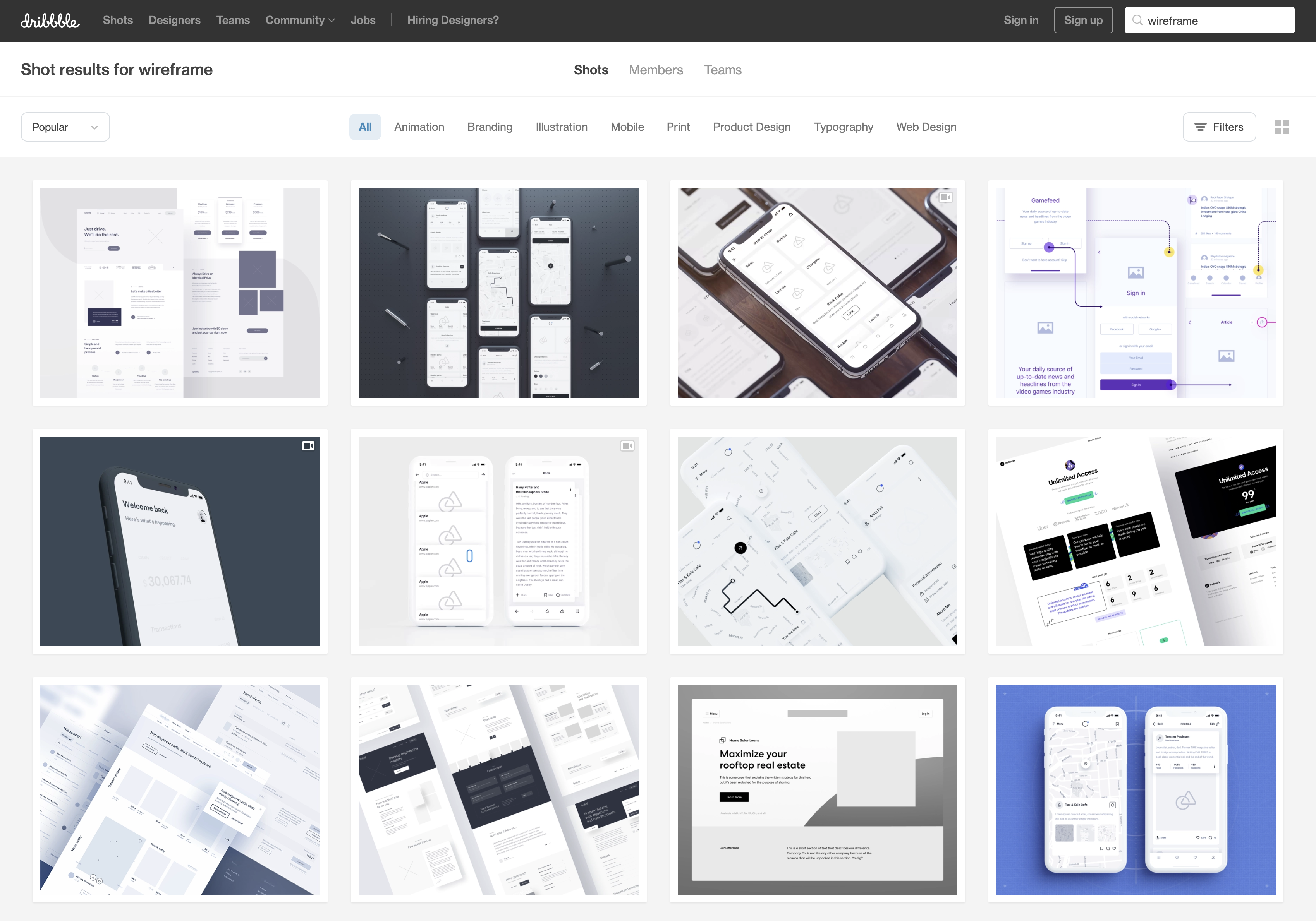 Screenshot of Dribbble showing bad wireframe shots