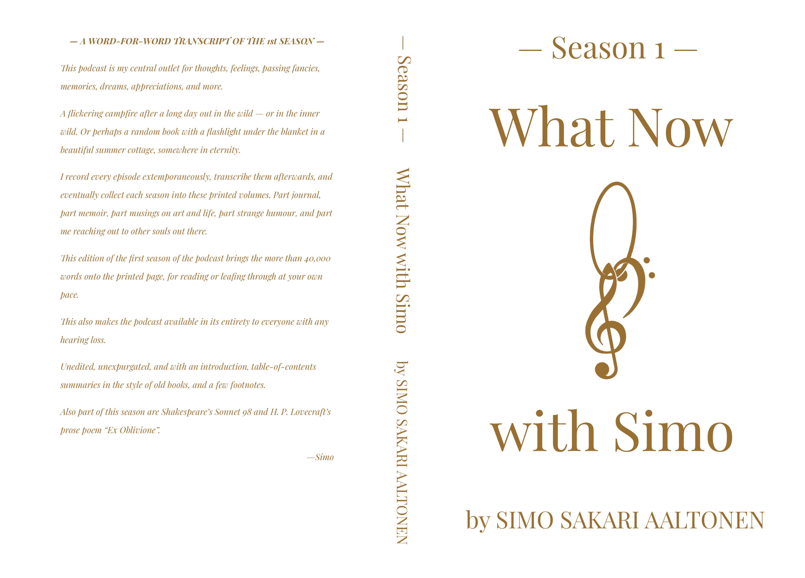The covers for the book What Now with Simo, Season 1.