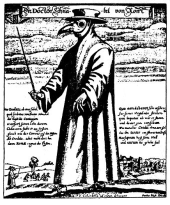A drawing of a plague doctor's attire
