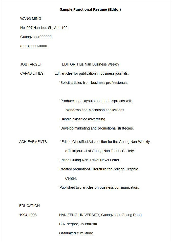 Different Types Of Resume Formats With Examples By Jitendra