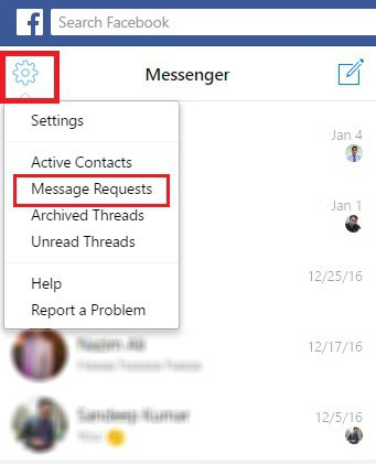 New message request facebook