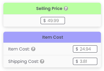 """3Dsellers eBay Fee Calculator's """"selling price"""" and """"item cost"""" settings"""