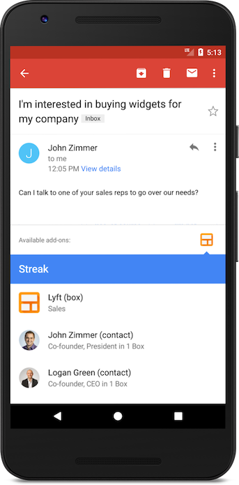 Streak Gmail Add-on for Android and iOS apps - Streak