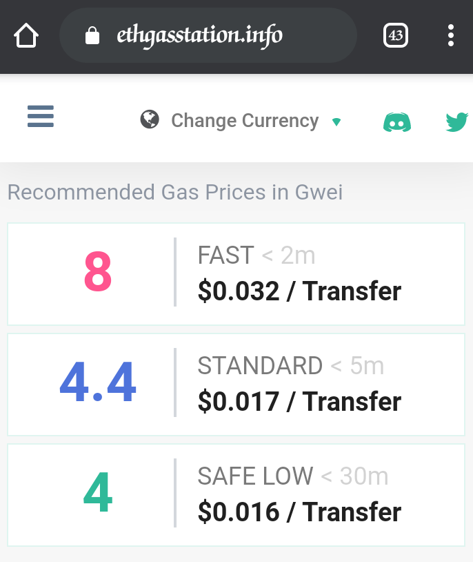 EthGasStation showing gas rices with speed