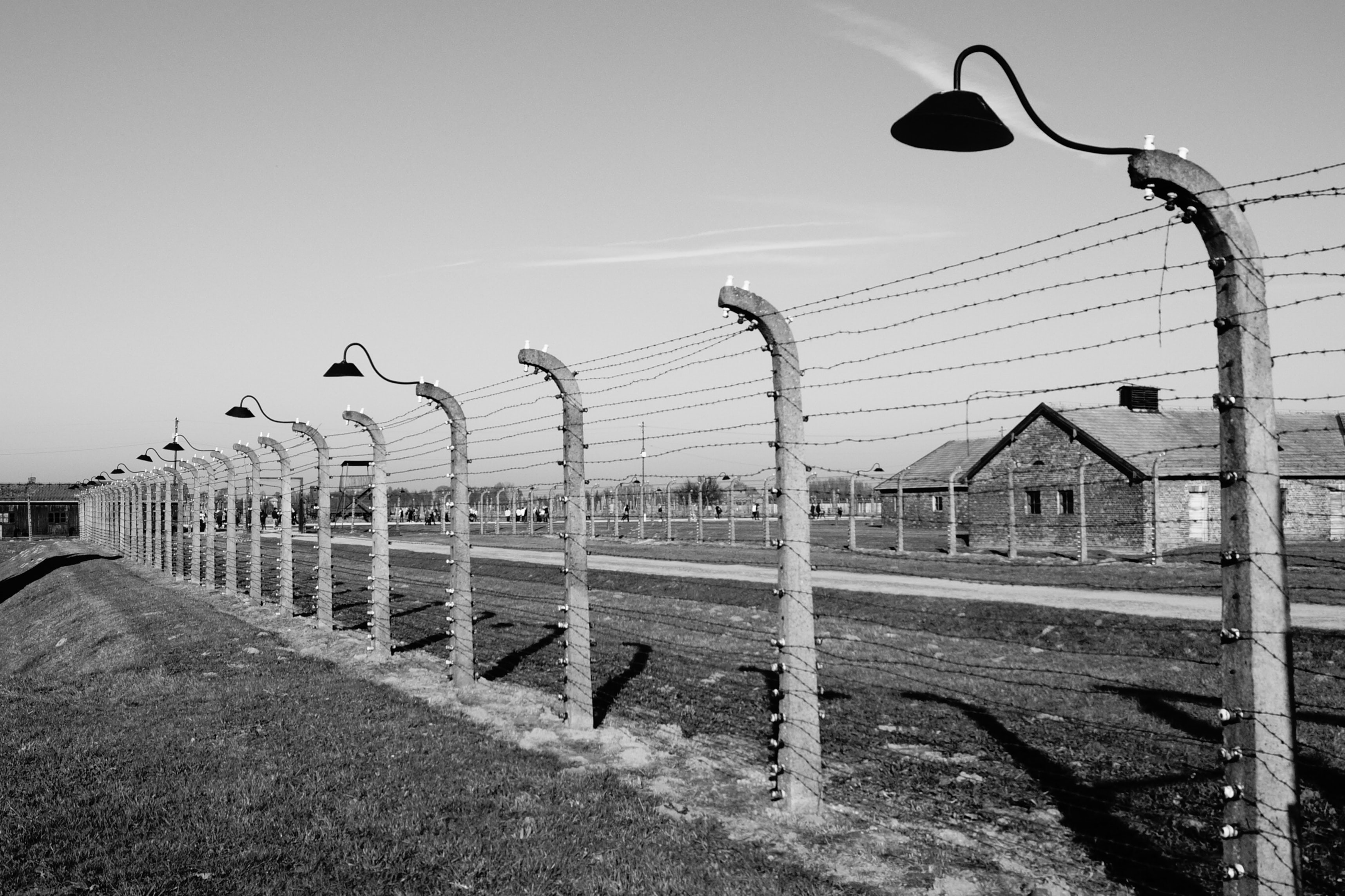 A black an white photo of a barbed wire fence around Auschwitz concentration camp