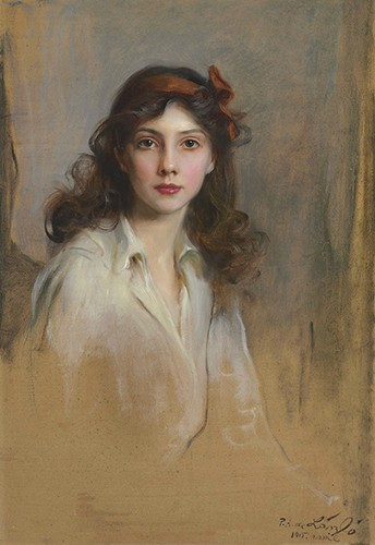 Xenia painted in a white blouse with long, loose hair and a red bow as a headband.