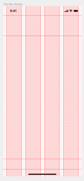 An iPhone screen highlighting the 8pt grid system in red.