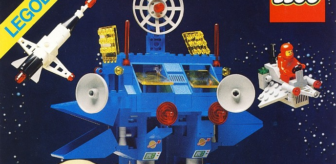 A large Lego space robot from the front of a Lego catalog