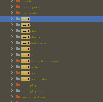 A screenshot from node modules where react-16 is installed along with react