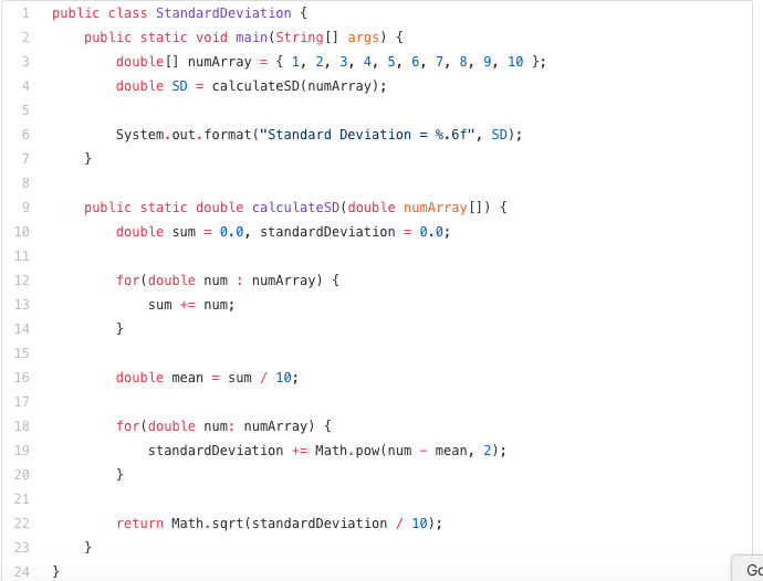 Java code snippet example