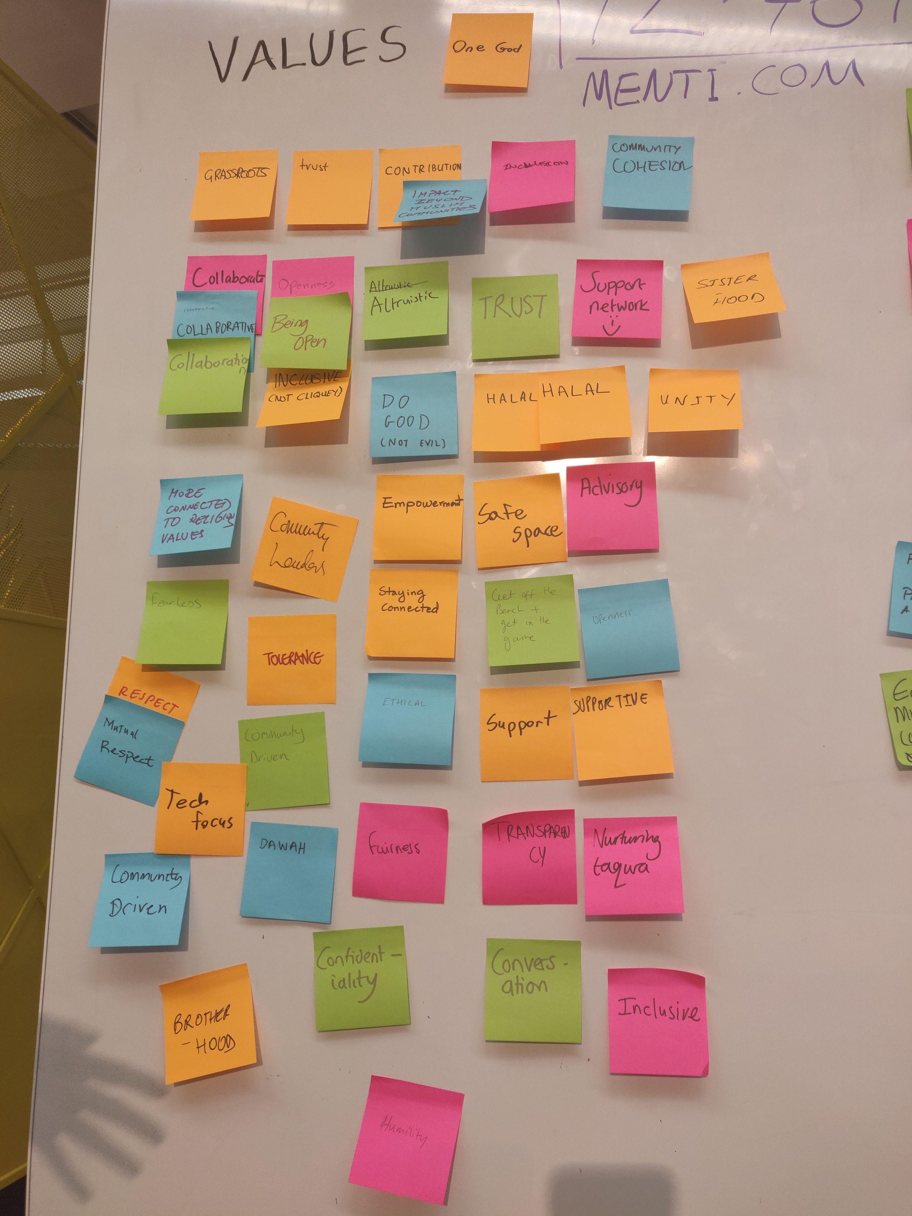 a picture with some of the values written out on sticky notes from the community like inclusive, halal, safe space