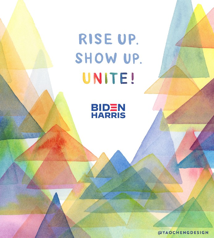 Lettering art of the phrase 'Rise up. Show up. Unite!' by Yao Chen