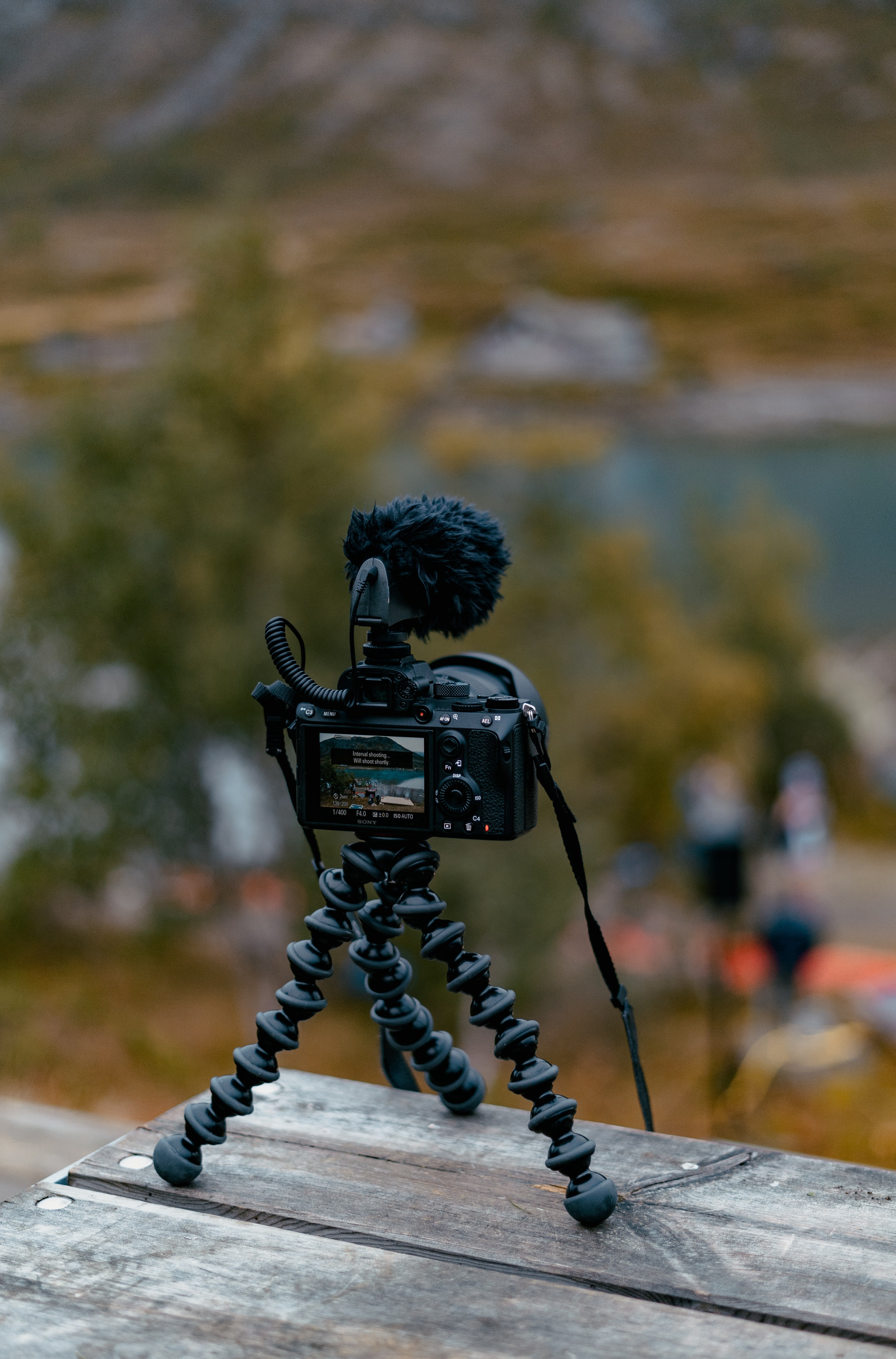 Camera and microphone on a tripod