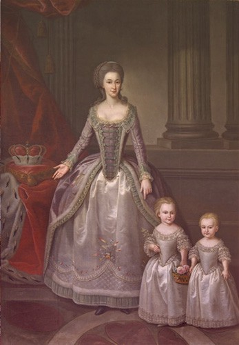 Dorothea's mother painted standing with two of her daughters, all wearing similar silver dresses.