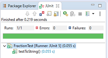 Detail of JUnit test results in Eclipse. The one test passes.