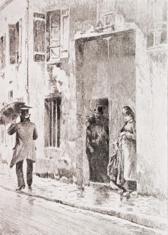 Eugenie stands huddled in a doorway, while Evans walks off to find help, carrying an umbrella.
