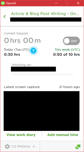 A screenshot of the Upwork desktop tracking app, with client information removed.