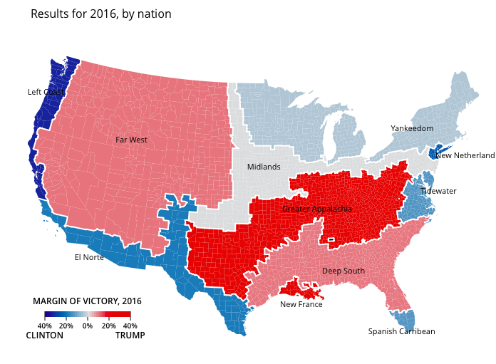 The American Nations, Trumpism, and the 2016 Elections