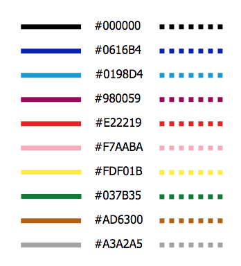 hexadecimal colour codes of 10 lines (not enough space to type them all here—sorry!)