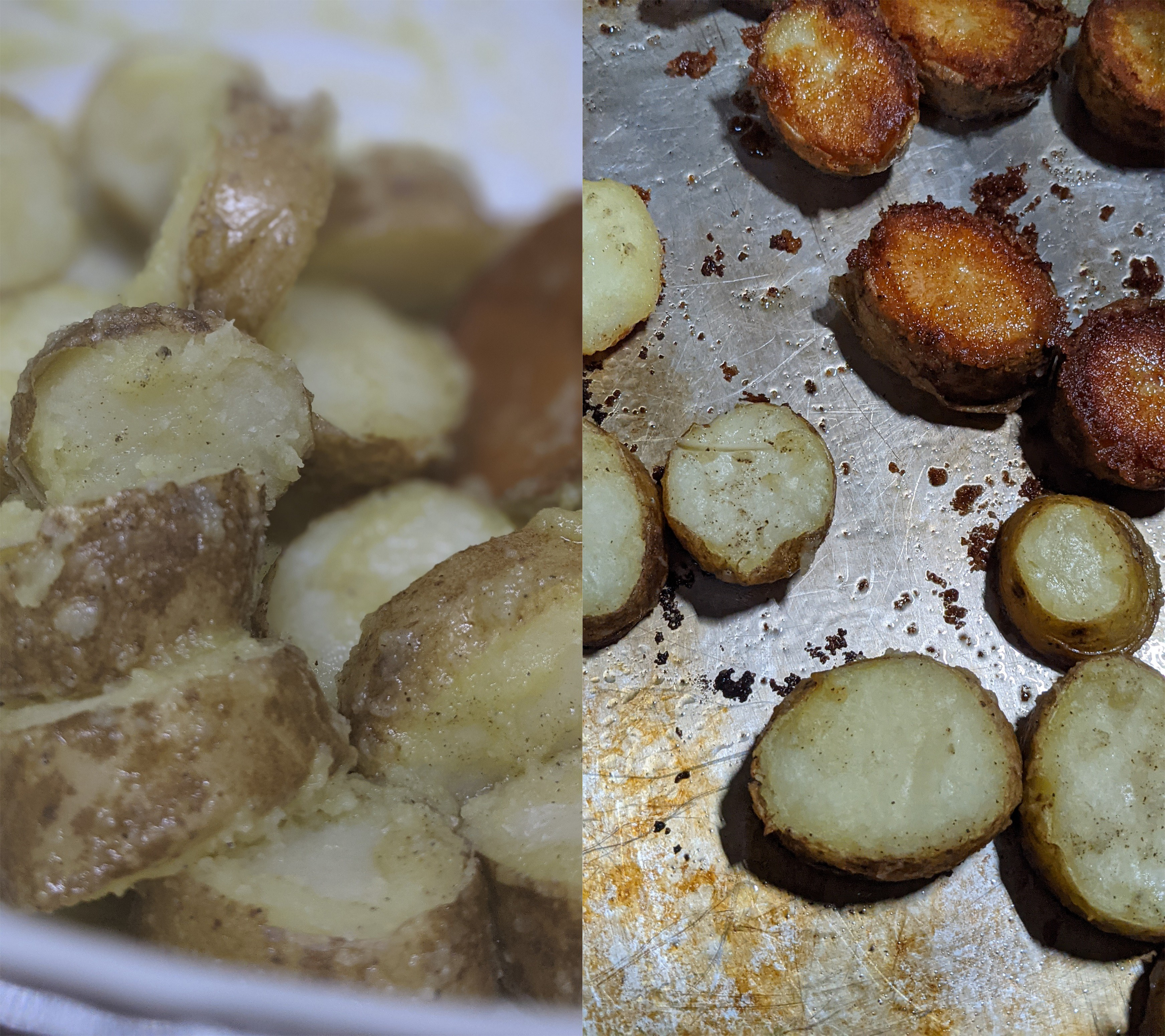 Potatoes tossed with fat and potatoes halfway through frying
