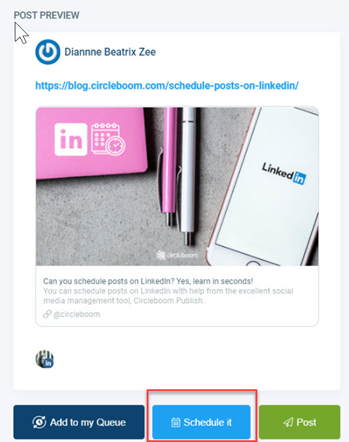 Auto post to LinkedIn for later!