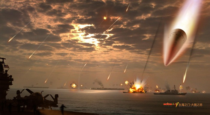 Artist depiction of df-21 attack, albeit exaggerated. illustration via chinese internet