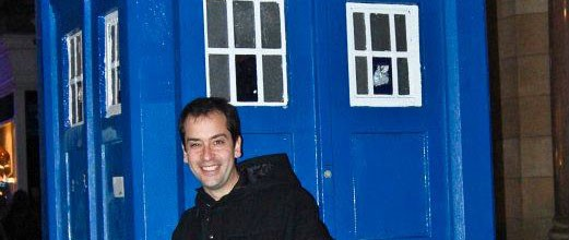glasgow tardis, and a man who is clearly not the doctor.