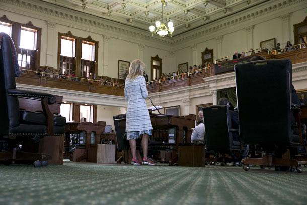Sen. Wendy Davis at the beginning of her filibuster