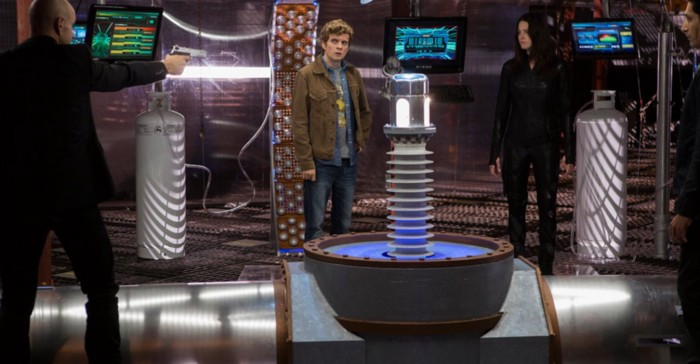 Escher, Alec, and Kiera in a tense standoff over the future of the time travel device. (Showcase.ca/Continuum)