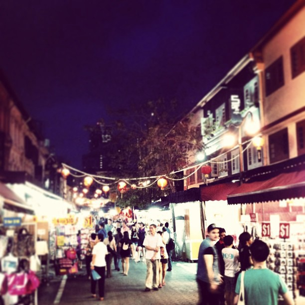 Chinatown in singapore by night