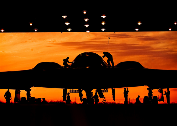 A B-2 in its hangar. Air Force photo