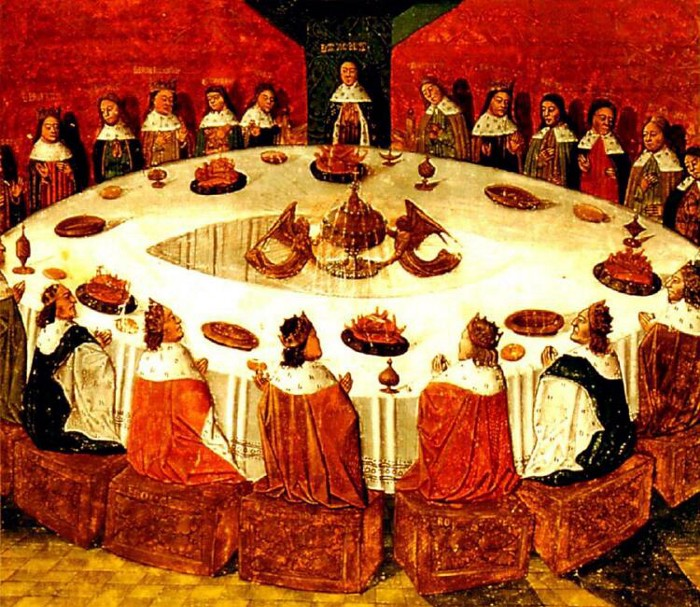 Illustration of 'The Round Table and the Holy Grail', from a manuscript of 'Lancelot-Grail' written by Michel Gantelet, completed in 1470