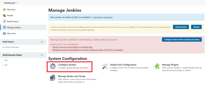 """Jenkins Dashboard continued  """"Configure System"""" Button highlighted"""