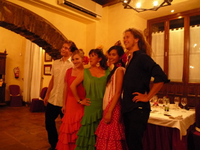 Five of my dad's Exchange Students Performing at a farewell Dinner in Cordova, Spain