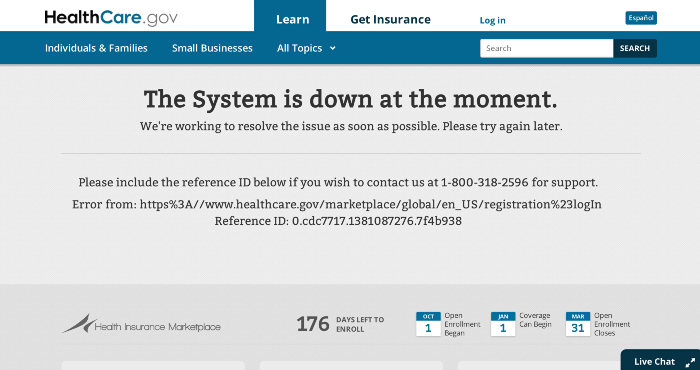 healthcare.gov error message
