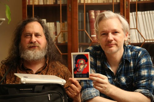 richard stallman (left), julian assange and photo of edward snowden / CREDIt: WIKILeaks