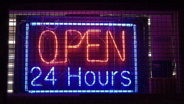 """open 24 hours"" by aubergene/Flickr"