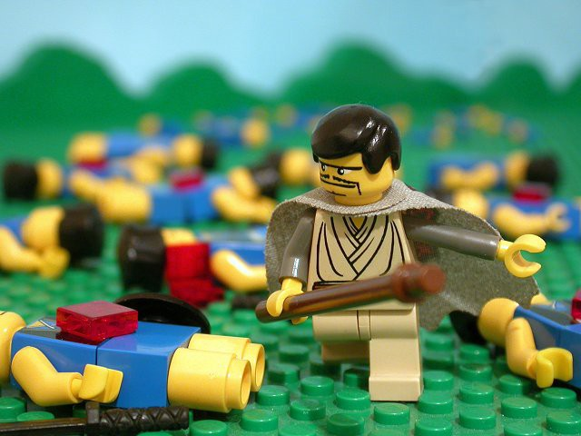 Shamgar slaying the Philistines / image from the brick bible. http://thebrickbible.com/