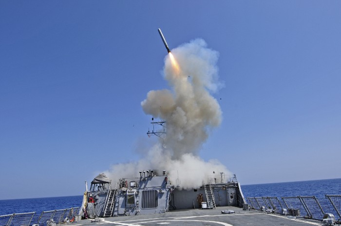 USS Barry launches a cruise missile at Libya in 2011. Navy photo
