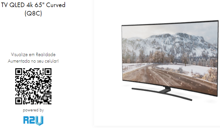 One of our demonstrative QRCodes, that can be accessed with a mobile device, without the need for apps. The picture shows the QRCode and a Samsung TV.