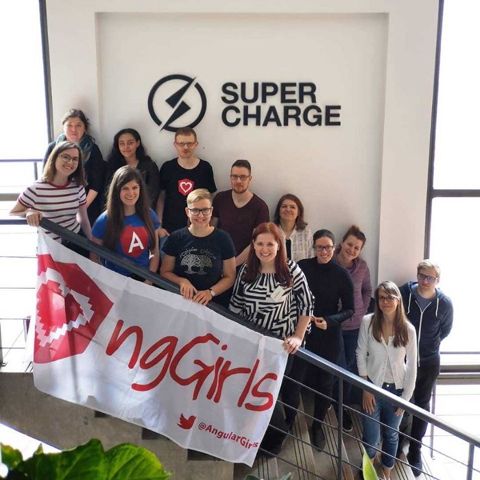 Group of people with ngGirls flag