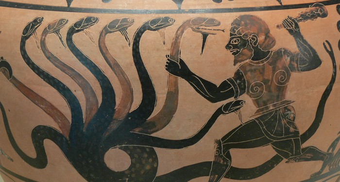 herakles & the lernean hydra / GREEK vase circa 525 B.C.