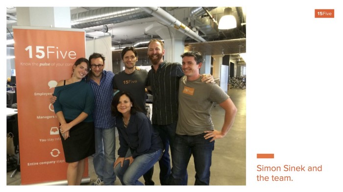 Thought leader Simon Sinek with the 15Five team