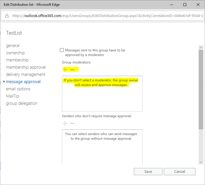 How to edit the Moderators for groups synced from AD without Exchange on-premise