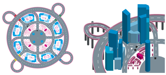 Early concepts and Blueprint for Radial City
