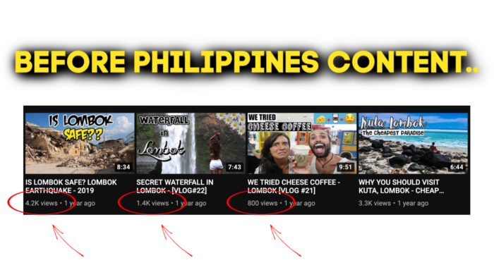 Screenshots of YouTubers' video thumbnails before adding Philippines content