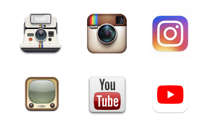 The difference between neumorphic and skeumorphic design can be seen in the evolution of YouTube and Instagram's app icons. The old skeumorphic app icons and logos represented real, physical objects with more literal accuracy, while the newer, minimalist or neumorphic style icons appear as abstract brand logos.