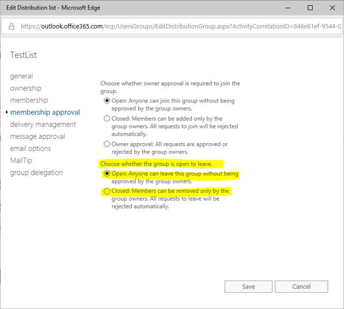 How to edit the Group Leave Permissions for groups synced from AD without Exchange on-premise