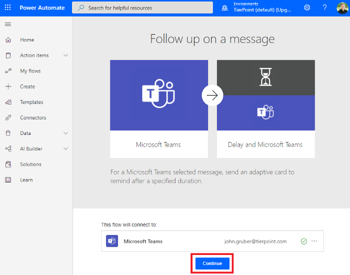 Microsoft Teams follow up on a message