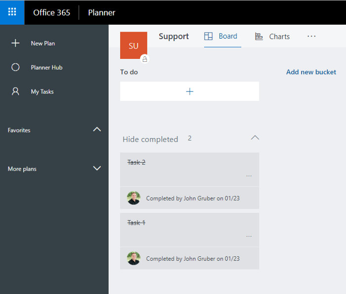 Microsoft Planner screenshot with left pane and tasks completed